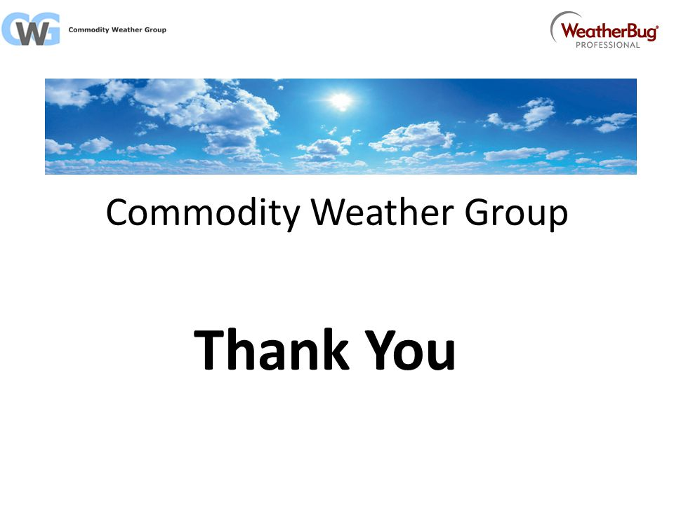 Commodity Weather Group Thank You