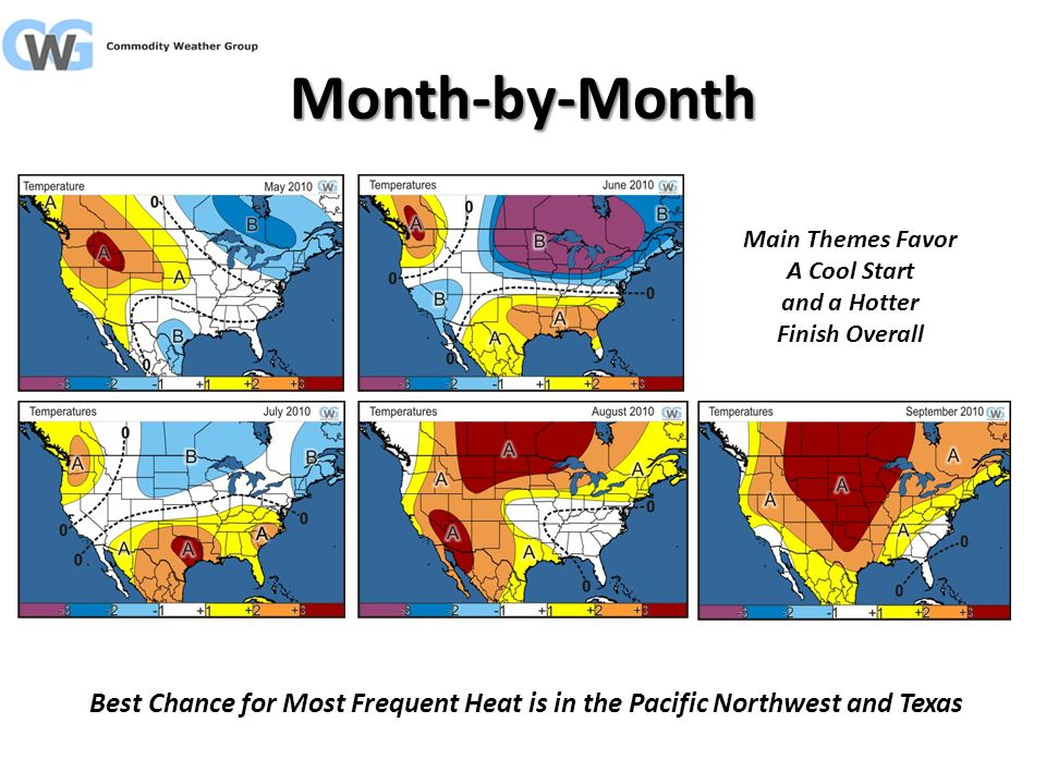 Month-by-Month Best Chance for Most Frequent Heat is in the Pacific Northwest and Texas Main Themes Favor A Cool Start and a Hotter Finish Overall