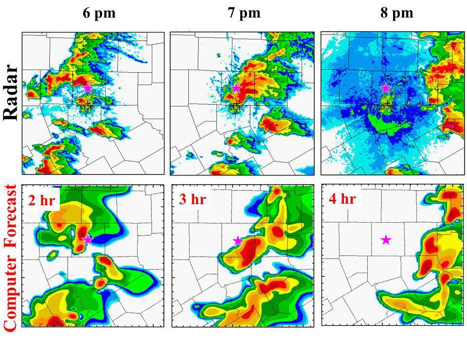 6 pm 7 pm8 pm Radar Computer Forecast 2 hr 3 hr 4 hr