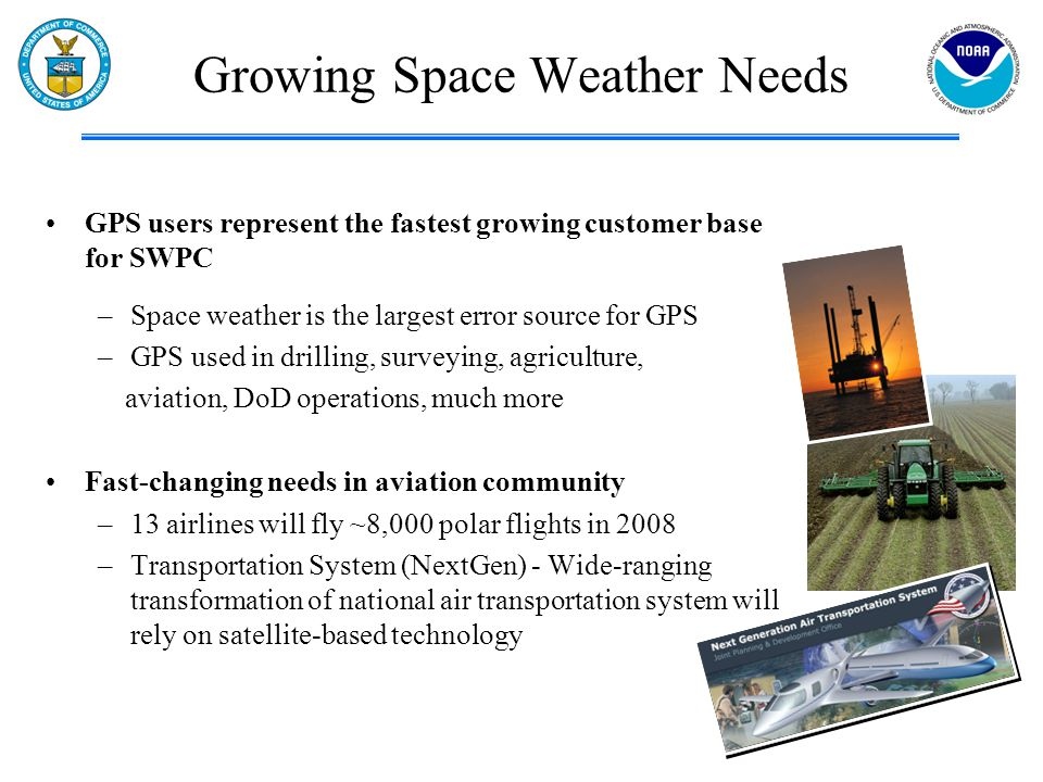 GPS users represent the fastest growing customer base for SWPC –Space weather is the largest error source for GPS –GPS used in drilling, surveying, ag