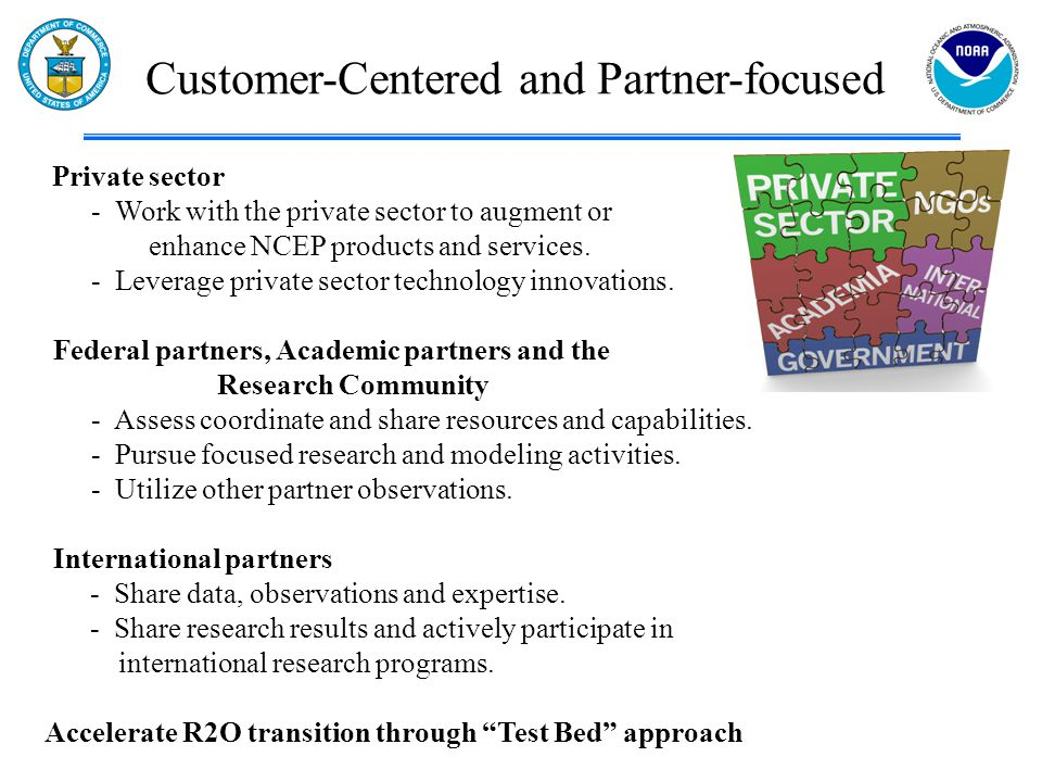 Customer-Centered and Partner-focused Private sector - Work with the private sector to augment or enhance NCEP products and services. - Leverage priva