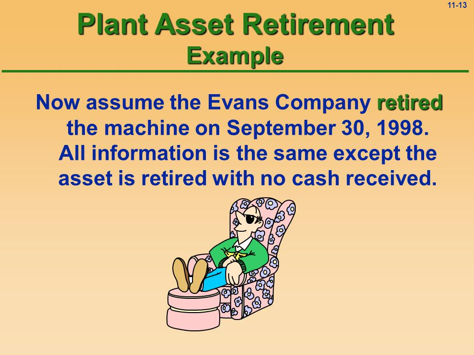 11-12 Plant Asset Retirement (i.e., Junked) No sale, so no cash received.