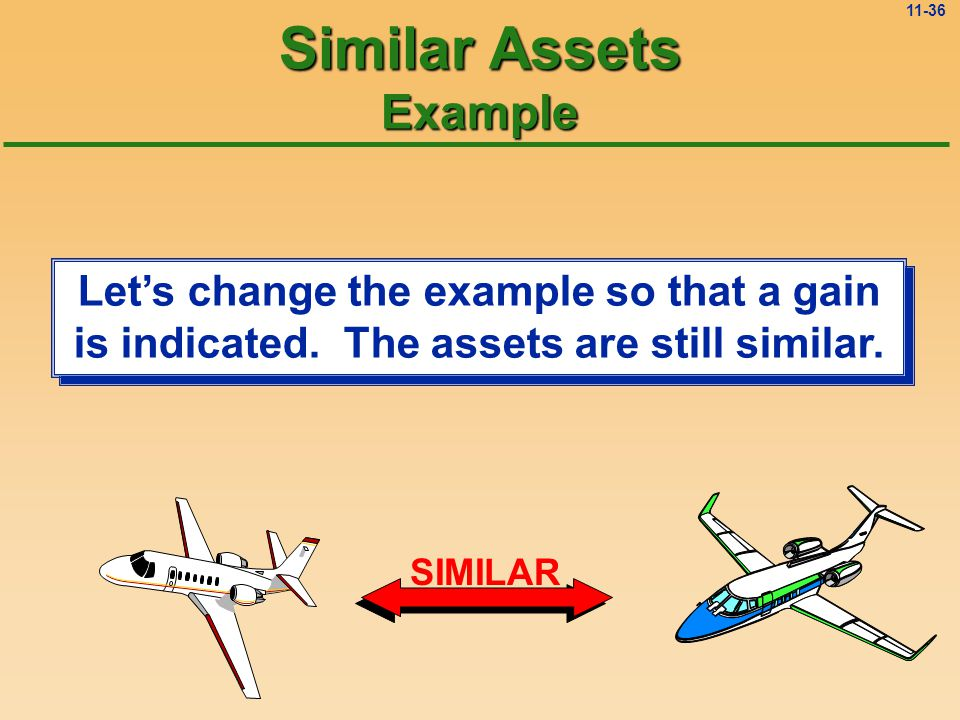 11-35 GENERAL JOURNAL Page: 1 DateDescriptionPRDebitCredit 5/30New Airplane39,000 Accumulated Depreciation30,000 Loss on Exchange6,000 Old Airplane40,000 Cash35,000 To record exchange of airplanes Similar Assets Example #1 Plug The Rule: The new airplane is recorded at the fair value of the old airplane plus the cash paid, just like an exchange of dissimilar assets.