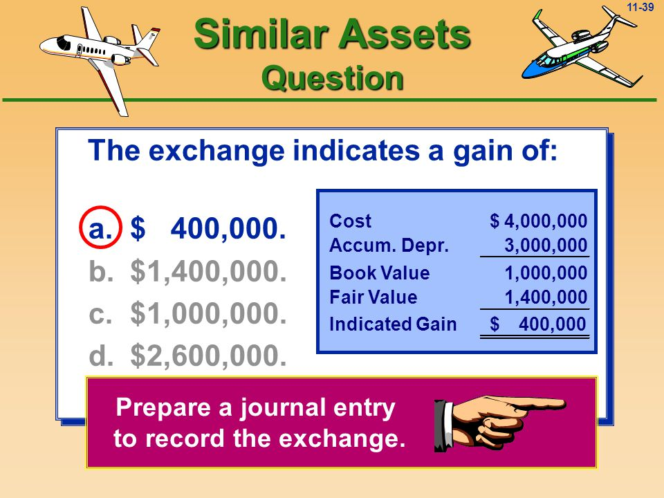 11-38 The exchange indicates a gain of: a.$ 400,000.
