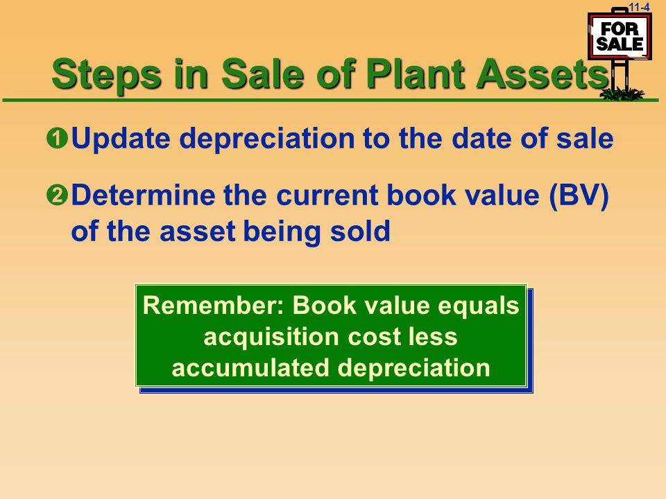 11-3 Disposal of Plant Assets General Procedure* Record the asset depreciation up to date of sale Record the disposal by credit u Writing off asset cost (credit) debit u Writing off Accumulated Depreciation (debit) debit u Record any cash, received (debit) creditdebit u Record gain (credit) or loss (debit) Record the asset depreciation up to date of sale Record the disposal by credit u Writing off asset cost (credit) debit u Writing off Accumulated Depreciation (debit) debit u Record any cash, received (debit) creditdebit u Record gain (credit) or loss (debit) * * No matter which way disposed