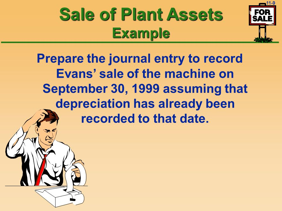11-8 Gain = excess of cash received over book value of asset sold Gain = $60,000 - $54,000 = $6,000 On September 30, 1999, Evans Company sold a machine that originally cost $100,000 for $60,000 cash.
