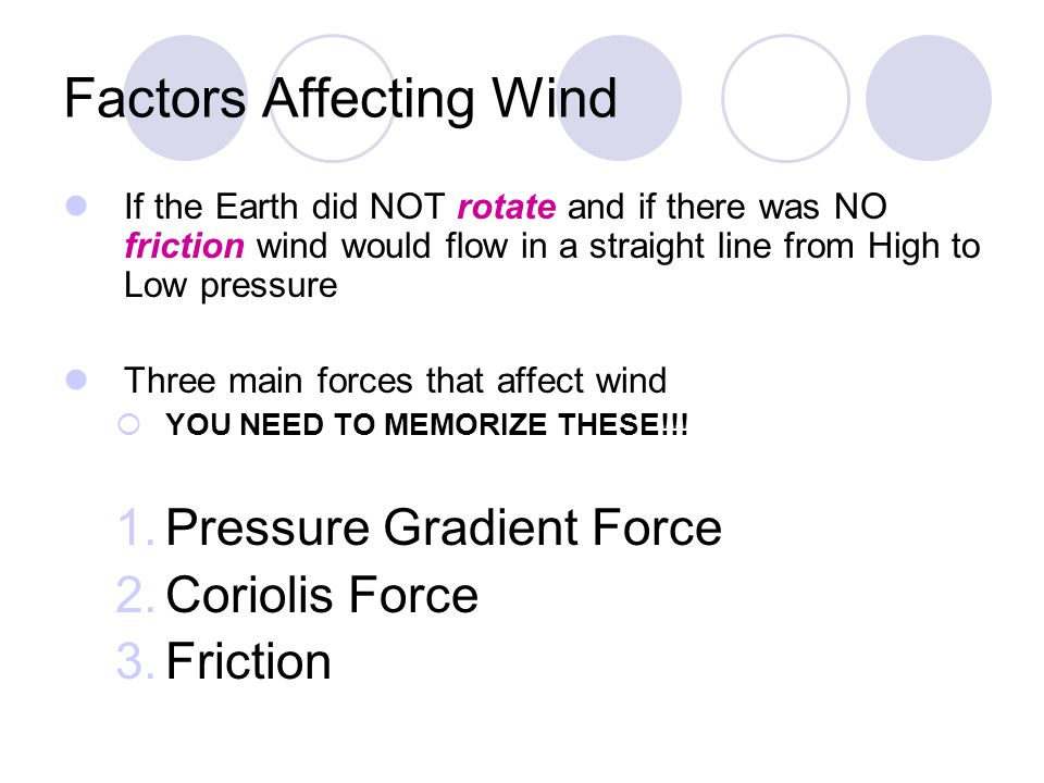 Factors Affecting Wind If the Earth did NOT rotate and if there was NO friction wind would flow in a straight line from High to Low pressure Three mai