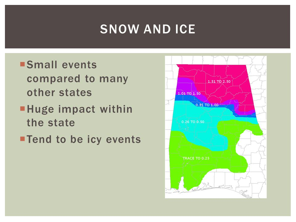 Small events compared to many other states Huge impact within the state Tend to be icy events SNOW AND ICE
