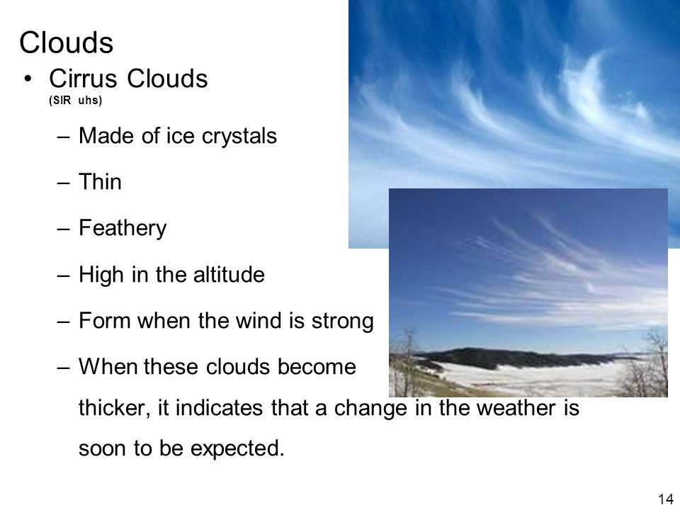 Clouds 14 Cirrus Clouds (SIR uhs) –Made of ice crystals –Thin –Feathery –High in the altitude –Form when the wind is strong –When these clouds become