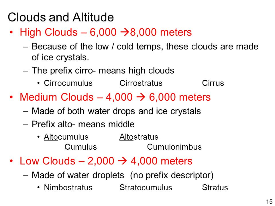 Clouds and Altitude 15 High Clouds – 6,000 8,000 meters –Because of the low / cold temps, these clouds are made of ice crystals. –The prefix cirro- me
