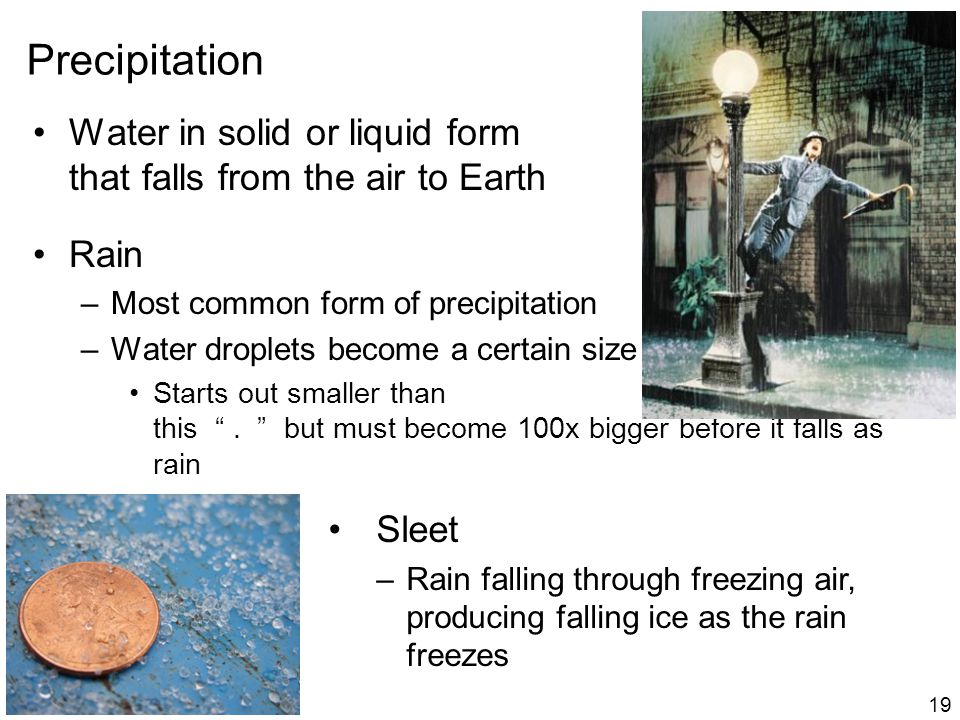 Precipitation Water in solid or liquid form that falls from the air to Earth Rain –Most common form of precipitation –Water droplets become a certain