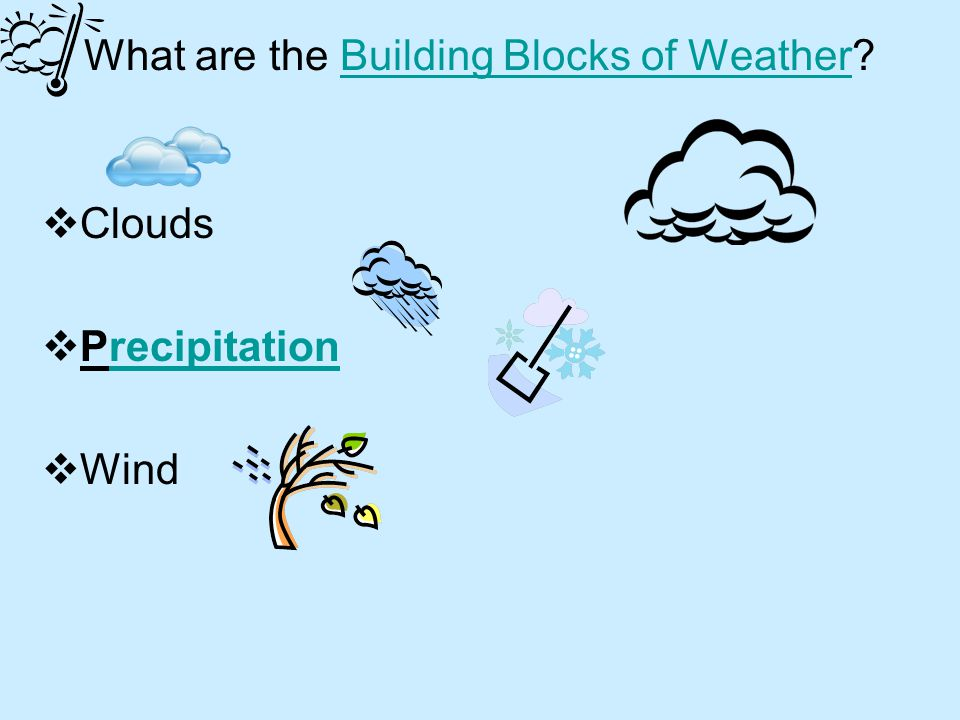 What is WEATHER? WEATHER WEATHER is the mix of events that happen each day in our atmosphere including temperature, rainfall and humidity.