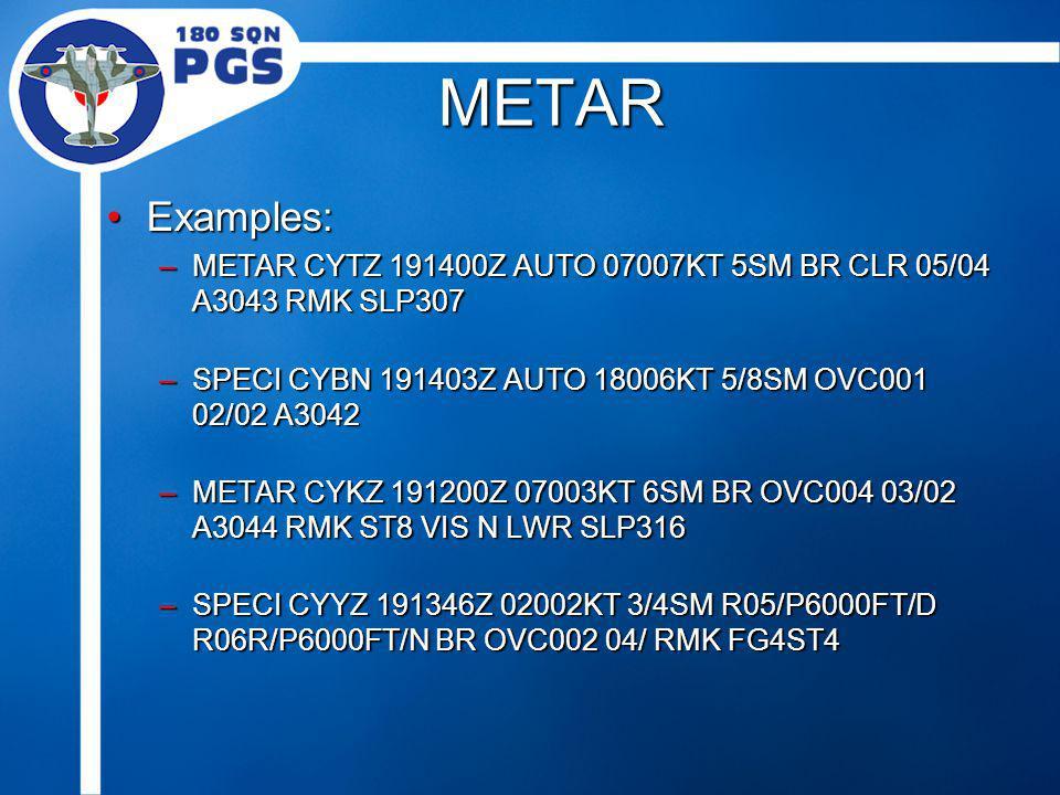 METAR Examples:Examples: –METAR CYTZ 191400Z AUTO 07007KT 5SM BR CLR 05/04 A3043 RMK SLP307 –SPECI CYBN 191403Z AUTO 18006KT 5/8SM OVC001 02/02 A3042 –METAR CYKZ 191200Z 07003KT 6SM BR OVC004 03/02 A3044 RMK ST8 VIS N LWR SLP316 –SPECI CYYZ 191346Z 02002KT 3/4SM R05/P6000FT/D R06R/P6000FT/N BR OVC002 04/ RMK FG4ST4