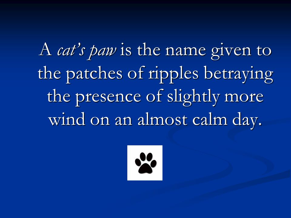 A cats paw is the name given to the patches of ripples betraying the presence of slightly more wind on an almost calm day.