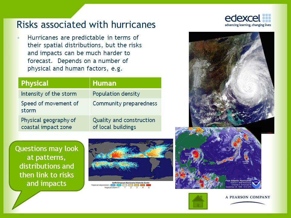 Risks associated with hurricanes Hurricanes are predictable in terms of their spatial distributions, but the risks and impacts can be much harder to f