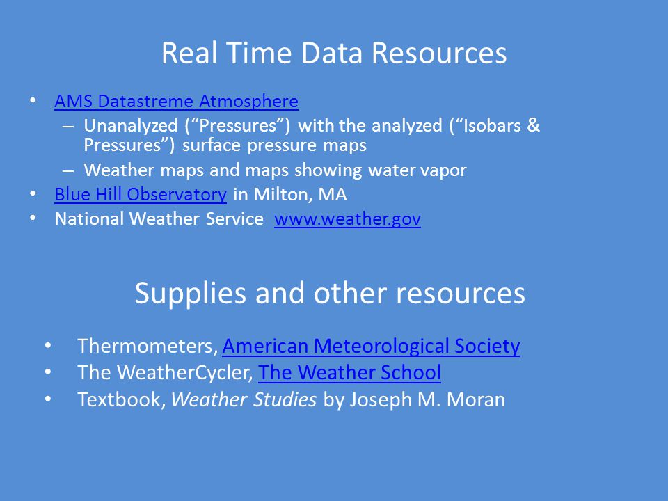 Real Time Data Resources AMS Datastreme Atmosphere – Unanalyzed (Pressures) with the analyzed (Isobars & Pressures) surface pressure maps – Weather ma