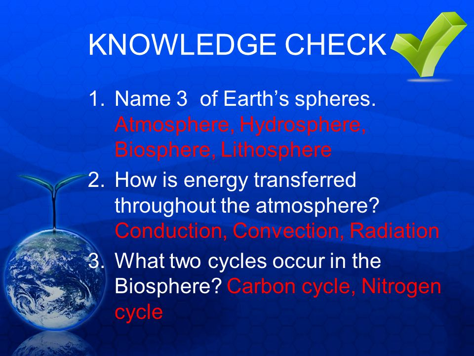 KNOWLEDGE CHECK 1.Name 3 of Earths spheres. Atmosphere, Hydrosphere, Biosphere, Lithosphere 2.How is energy transferred throughout the atmosphere? Con