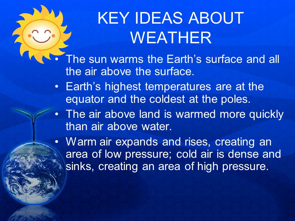 KEY IDEAS ABOUT WEATHER The sun warms the Earths surface and all the air above the surface. Earths highest temperatures are at the equator and the col