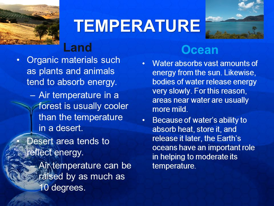 TEMPERATURE Land Organic materials such as plants and animals tend to absorb energy. –Air temperature in a forest is usually cooler than the temperatu
