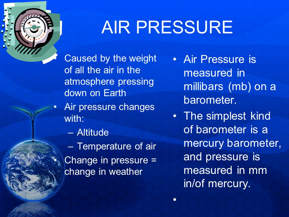 AIR PRESSURE Caused by the weight of all the air in the atmosphere pressing down on Earth Air pressure changes with: –Altitude –Temperature of air Cha