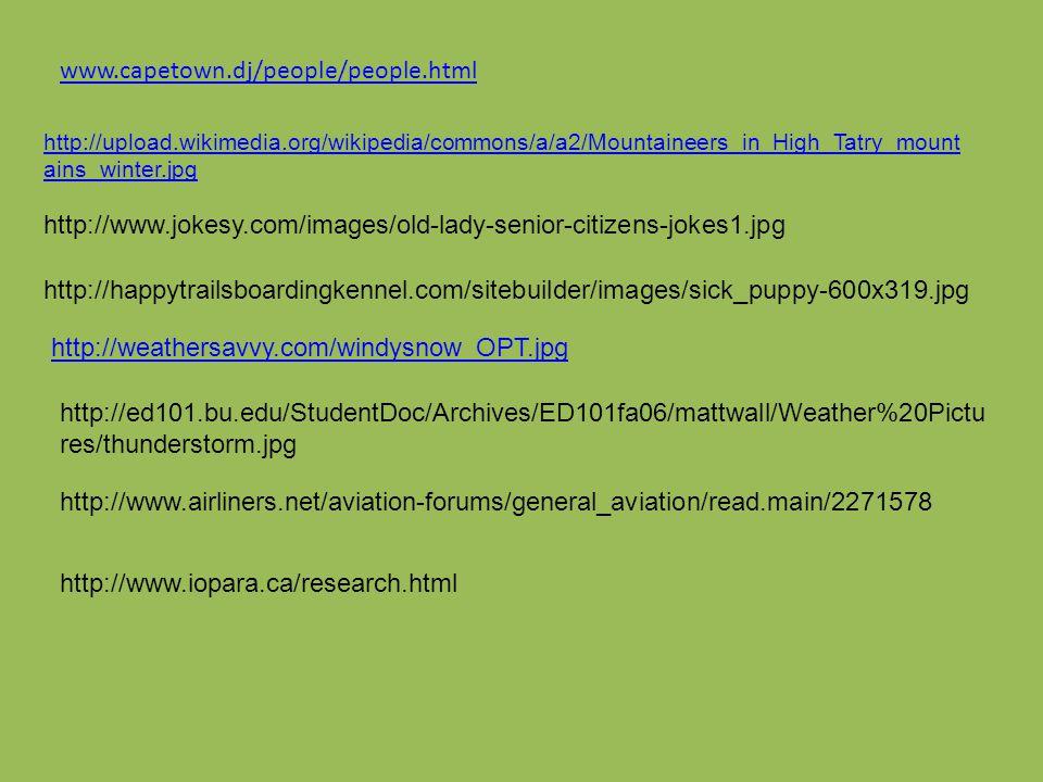 http://upload.wikimedia.org/wikipedia/commons/a/a2/Mountaineers_in_High_Tatry_mount ains_winter.jpg www.capetown.dj/people/people.html http://www.joke