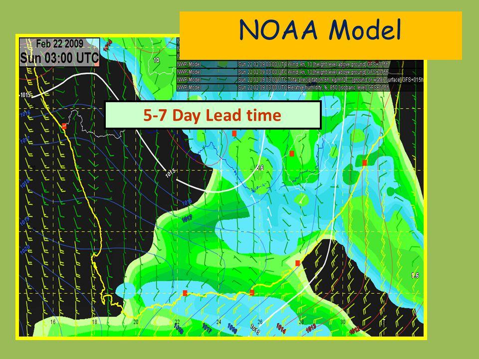 NOAA Model 5-7 Day Lead time
