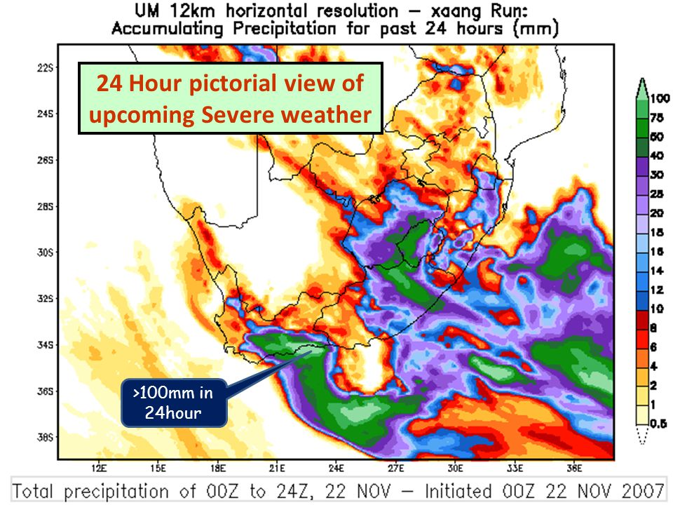 Keith Moir – Meteorologist – Cape Town Weather Office >100mm in 24hour 24 Hour pictorial view of upcoming Severe weather