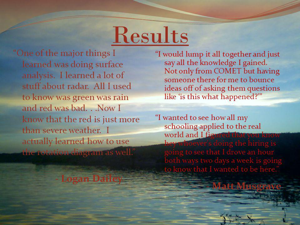 Results - Logan Dailey - Matt Musgrave One of the major things I learned was doing surface analysis.