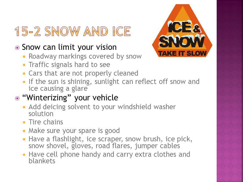 Snow can limit your vision Roadway markings covered by snow Traffic signals hard to see Cars that are not properly cleaned If the sun is shining, sunlight can reflect off snow and ice causing a glare Winterizing your vehicle Add deicing solvent to your windshield washer solution Tire chains Make sure your spare is good Have a flashlight, ice scraper, snow brush, ice pick, snow shovel, gloves, road flares, jumper cables Have cell phone handy and carry extra clothes and blankets