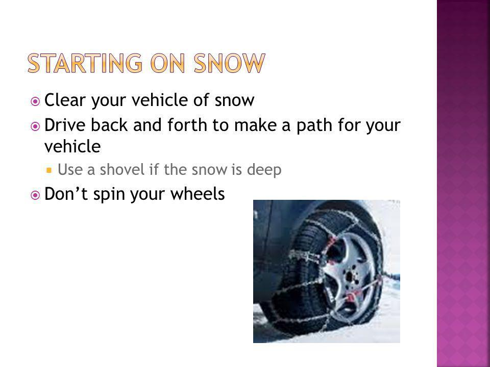 Clear your vehicle of snow Drive back and forth to make a path for your vehicle Use a shovel if the snow is deep Dont spin your wheels
