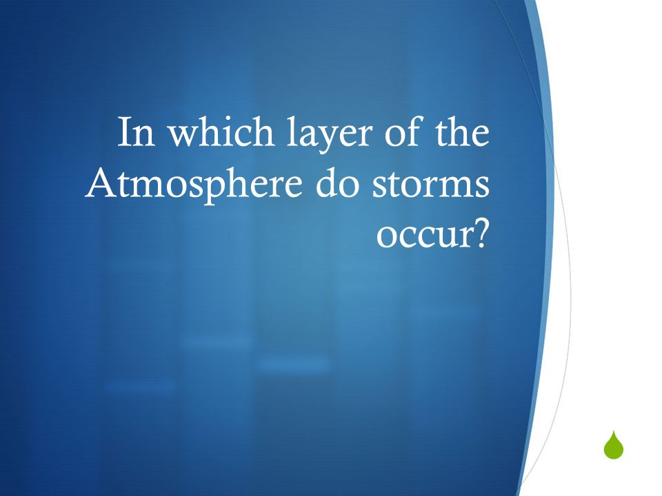 In which layer of the Atmosphere do storms occur?