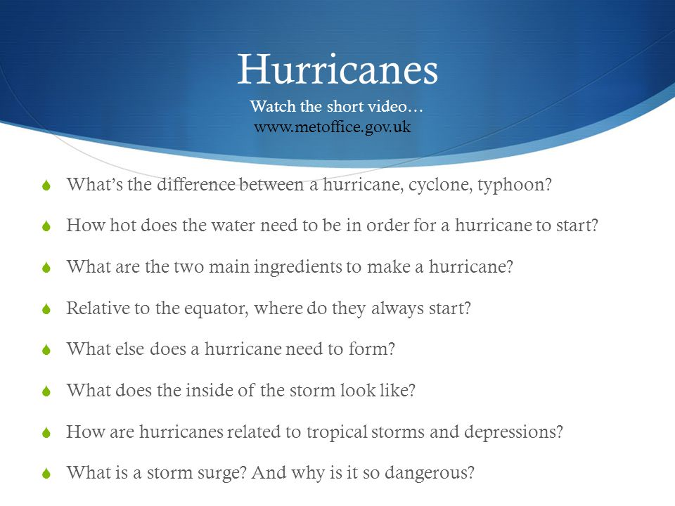 Hurricanes Whats the difference between a hurricane, cyclone, typhoon? How hot does the water need to be in order for a hurricane to start? What are t
