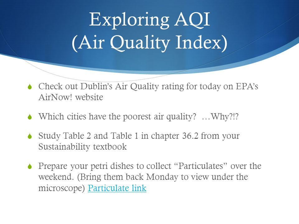 Exploring AQI (Air Quality Index) Check out Dublins Air Quality rating for today on EPAs AirNow! website Which cities have the poorest air quality? …W