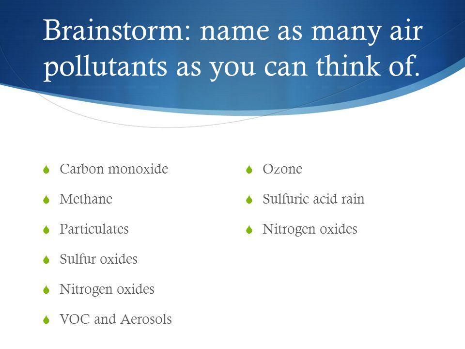 Carbon monoxide Methane Particulates Sulfur oxides Nitrogen oxides VOC and Aerosols Ozone Sulfuric acid rain Nitrogen oxides