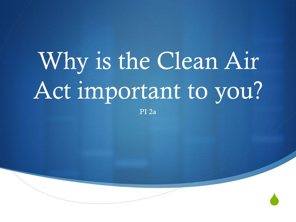 Why is the Clean Air Act important to you? PI 2a