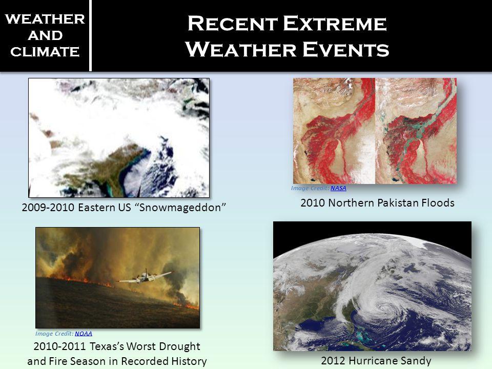 Recent Extreme Weather Events Image Credit: NASANASA Image Credit: NOAANOAA 2009-2010 Eastern US Snowmageddon 2010 Northern Pakistan Floods 2010-2011