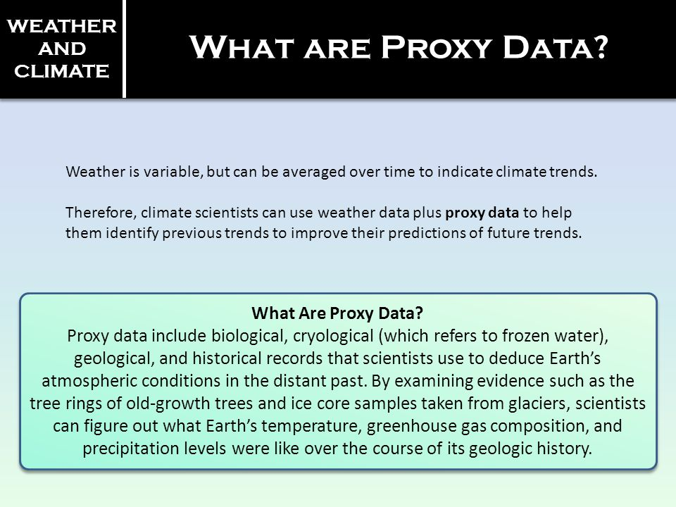 WEATHER AND CLIMATE What are Proxy Data? Weather is variable, but can be averaged over time to indicate climate trends. Therefore, climate scientists