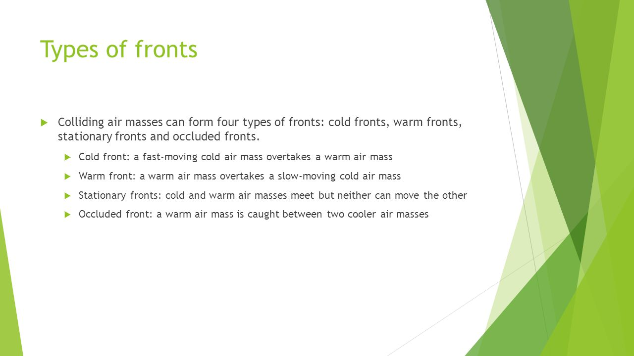 Types of fronts Colliding air masses can form four types of fronts: cold fronts, warm fronts, stationary fronts and occluded fronts. Cold front: a fas