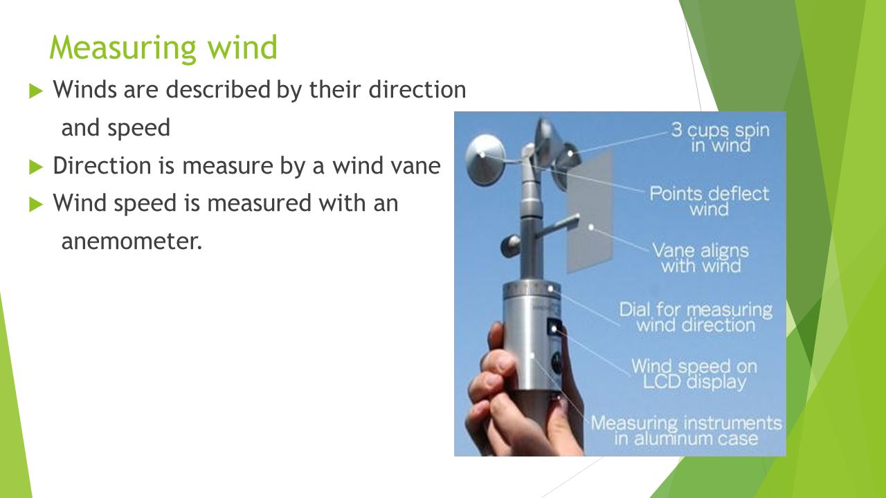Measuring wind Winds are described by their direction and speed Direction is measure by a wind vane Wind speed is measured with an anemometer.
