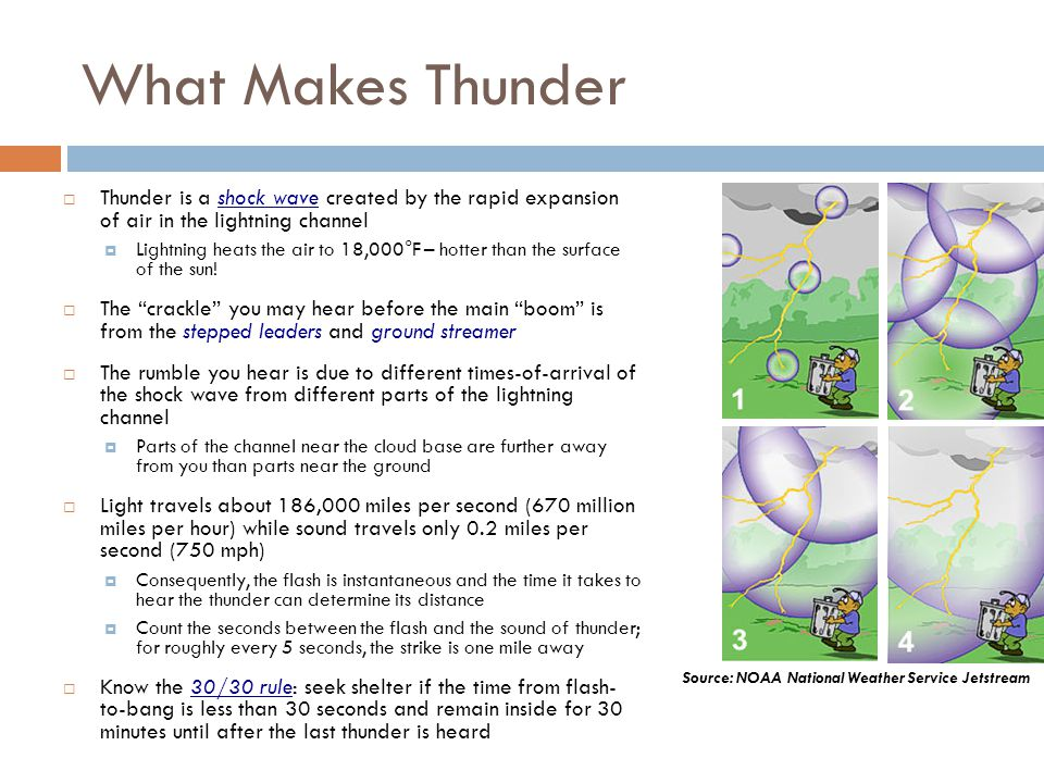 What Makes Thunder Thunder is a shock wave created by the rapid expansion of air in the lightning channel Lightning heats the air to 18,000°F – hotter
