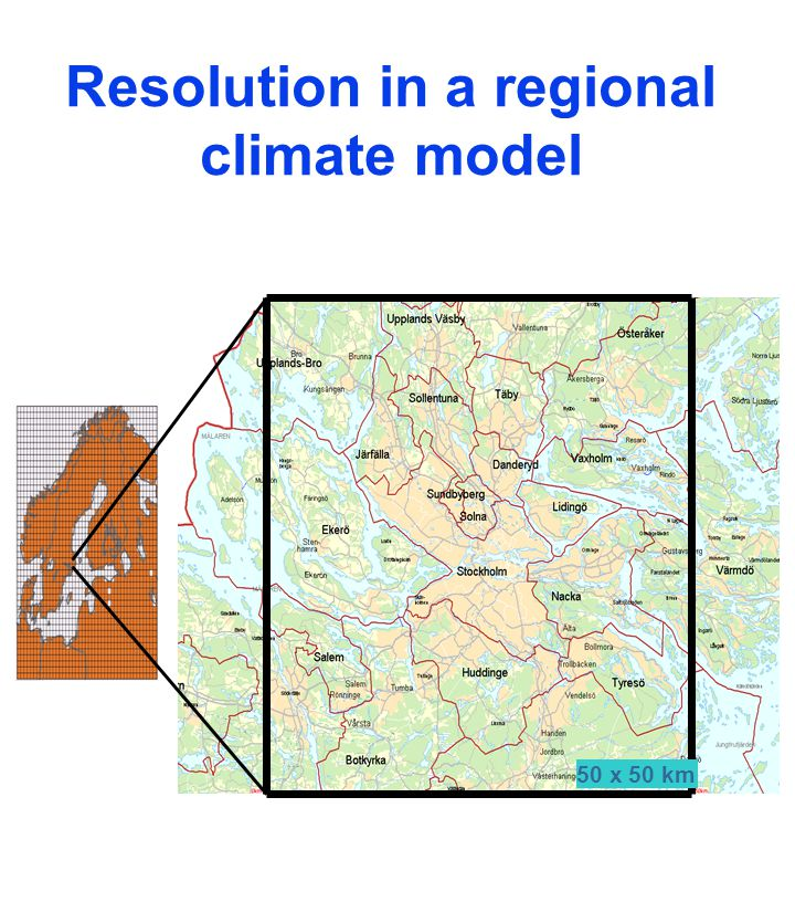 Resolution in a regional climate model 50 x 50 km
