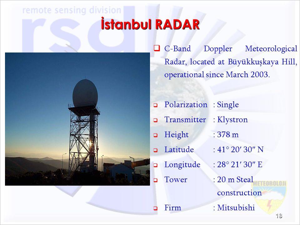 İstanbul RADAR C-Band Doppler Meteorological Radar, located at Büyükkuşkaya Hill, operational since March 2003. Polarization: Single Transmitter: Klys