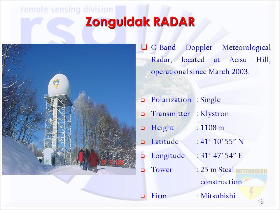 Zonguldak RADAR C-Band Doppler Meteorological Radar, located at Acısu Hill, operational since March 2003. Polarization: Single Transmitter: Klystron H