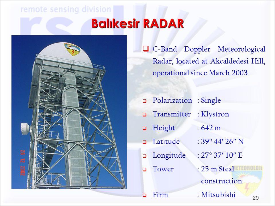 Balıkesir RADAR C-Band Doppler Meteorological Radar, located at Akcaldedesi Hill, operational since March 2003. Polarization: Single Transmitter: Klys