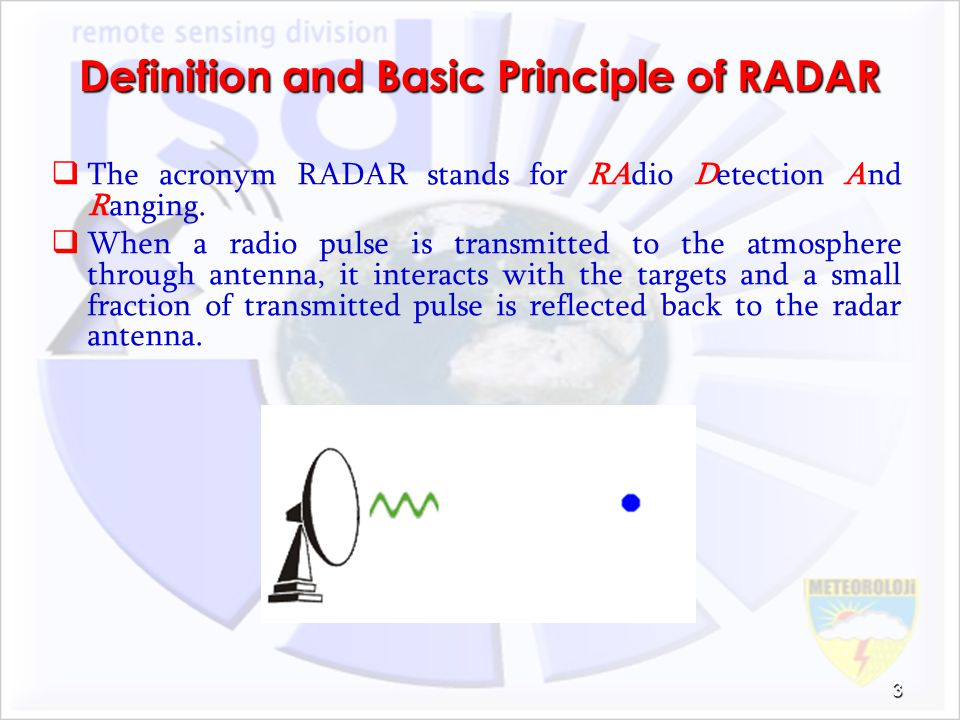 Definition and Basic Principle of RADAR The acronym RADAR stands for RAdio Detection And Ranging. When a radio pulse is transmitted to the atmosphere