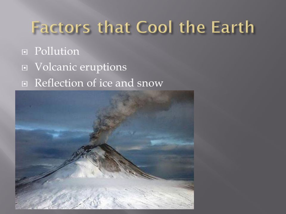 Pollution Volcanic eruptions Reflection of ice and snow