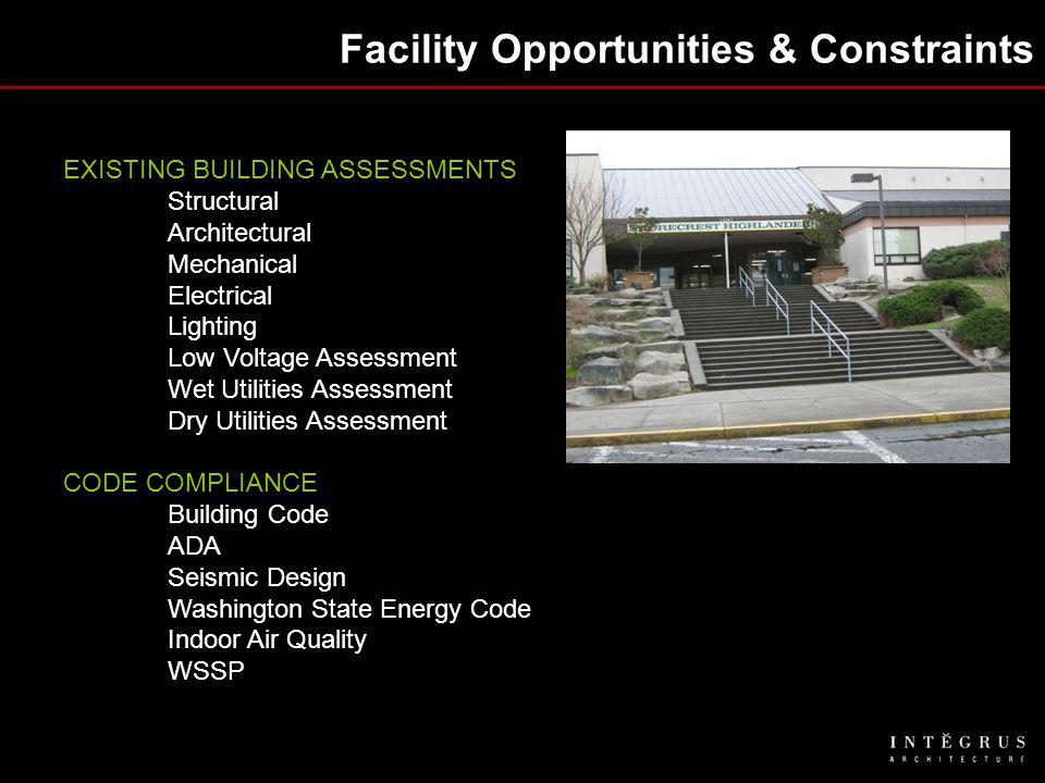 Facility Opportunities & Constraints EXISTING BUILDING ASSESSMENTS Structural Architectural Mechanical Electrical Lighting Low Voltage Assessment Wet Utilities Assessment Dry Utilities Assessment CODE COMPLIANCE Building Code ADA Seismic Design Washington State Energy Code Indoor Air Quality WSSP