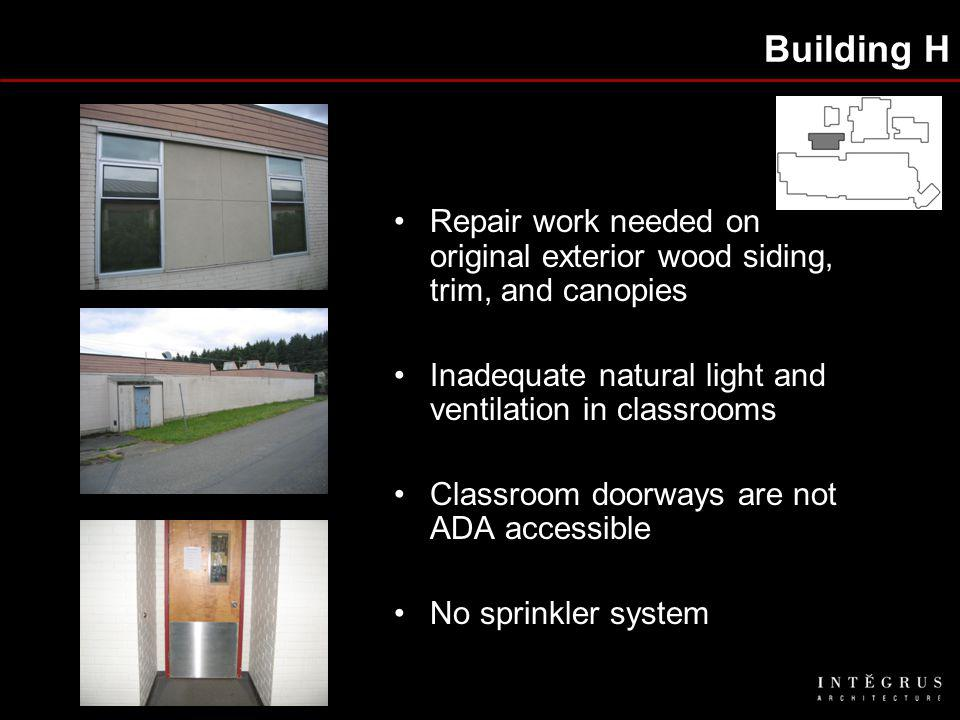 Building H Repair work needed on original exterior wood siding, trim, and canopies Inadequate natural light and ventilation in classrooms Classroom doorways are not ADA accessible No sprinkler system