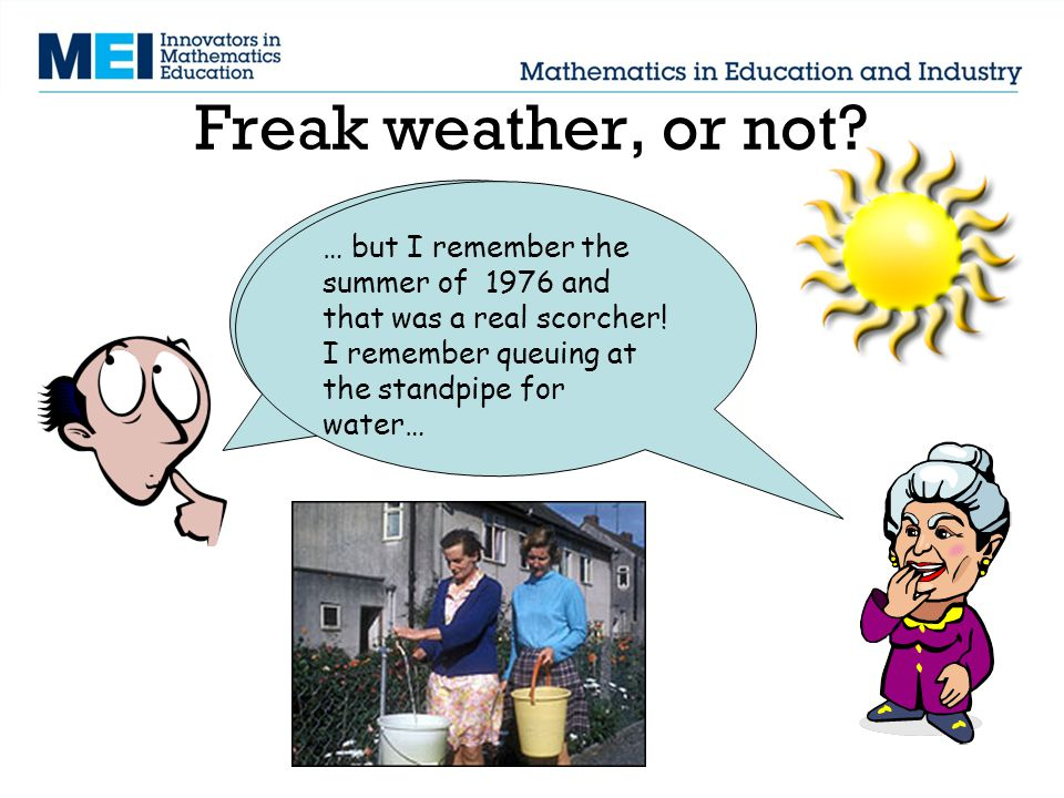 Freak weather, or not? Mind you, the summers seem hotter, and were always having hosepipe bans and drought warnings… … but I remember the summer of 19