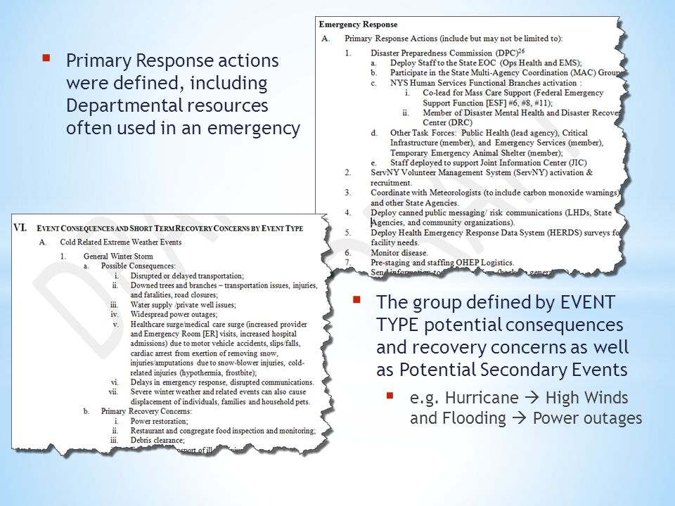 Primary Response actions were defined, including Departmental resources often used in an emergency The group defined by EVENT TYPE potential consequen
